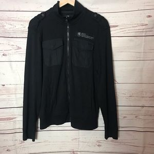 Express Military Style Zip Up Black Size Small
